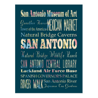 Attractions & Famous Places of San Antonio, Texas. Postcard