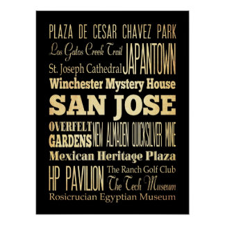 Attractions & Famous Places of San Jose,California Poster
