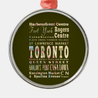 Attractions & Famous Places of Toronto, Canada. Metal Ornament