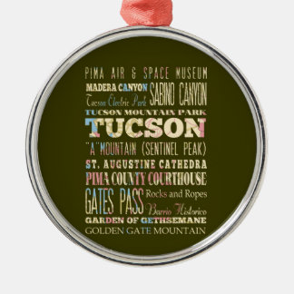 Attractions & Famous Places of Tucson,Arizona. Metal Ornament