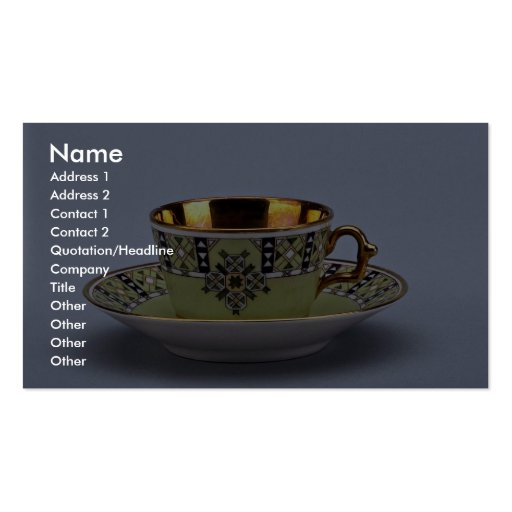 Attractive 20th century coffee cup and saucer business card