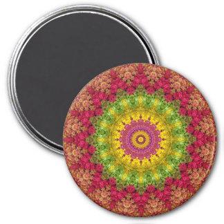 Attractive Magenta, Yellow and Green Mandala Art 7.5 Cm Round Magnet