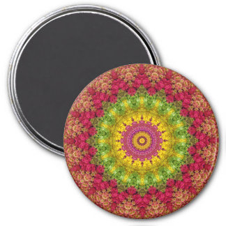 Attractive Magenta, Yellow & Green Mandala Art 7.5 Cm Round Magnet
