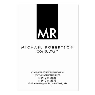 Attractive Monogram Black White Clear Pack Of Chubby Business Cards