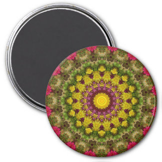 Attractive Purple, Yellow & Green Mandala Art 7.5 Cm Round Magnet
