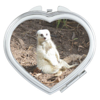 Attractive White Meerkat, Ladies Compact Mirror. Vanity Mirror