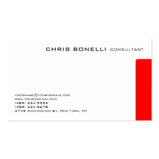 Attractive White Red Trendy Chic Business Card
