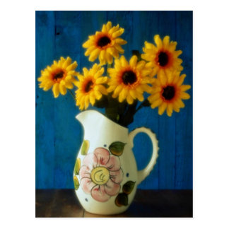 Attractive Yellow daisies in jug Postcard