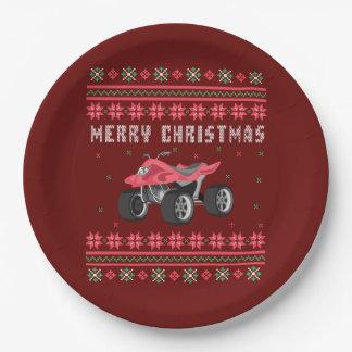 ATV 4 Wheeler Ugly Christmas Sweater Paper Plate