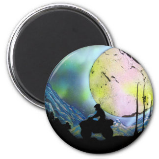 ATV Four Wheeler Space Landscape Spray Paint Art 6 Cm Round Magnet