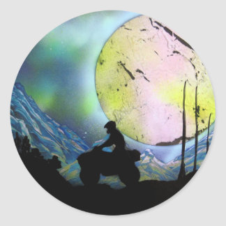 ATV Four Wheeler Space Landscape Spray Paint Art Classic Round Sticker