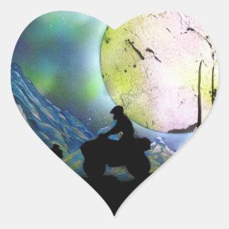 ATV Four Wheeler Space Landscape Spray Paint Art Heart Sticker