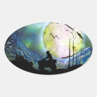 ATV Four Wheeler Space Landscape Spray Paint Art Oval Sticker