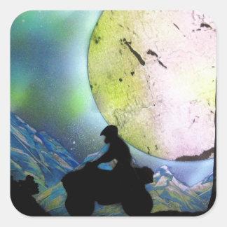 ATV Four Wheeler Space Landscape Spray Paint Art Square Sticker