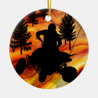 ATV on the Road from Hell Ceramic Ornament