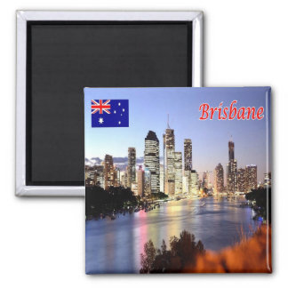 AU - Australia - Brisbane - By Night Square Magnet