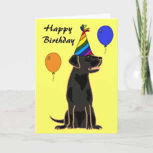 AU Black Labrador Birthday Card