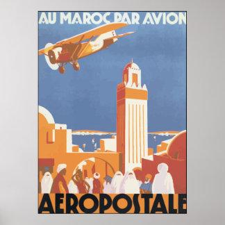 Au Maroc Par Avion Aeropostale, Vintage Poster