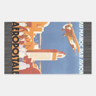 Au Maroc Par Avion Aeropostale, Vintage Rectangle Sticker