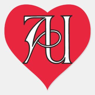 AU Monogram Heart Sticker