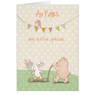 Au Pair Thanks Bear and Bunny Card