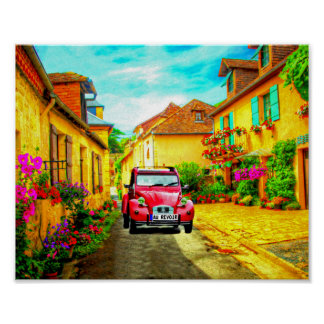 Au Revoir-Driving through a Village in France Art Poster