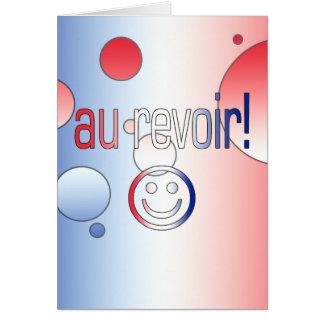 Au Revoir! French Flag Colors Pop Art Note Card