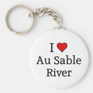 Au Sable River Basic Round Button Key Ring