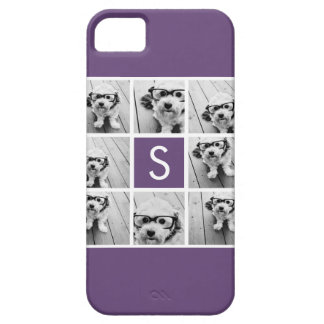 Aubergine and White Photo Collage Custom Monogram Barely There iPhone 5 Case