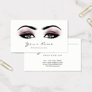 Aubergine MauveMakeup Lashes Extension Black White Business Card