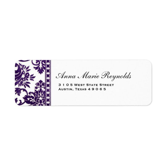 Aubergine Vintage Damask Lace Fancy Return Address Label