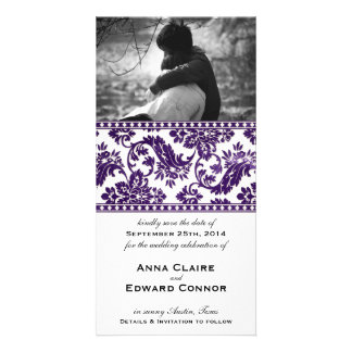 Aubergine Vintage Damask Lace Save the Date Photo Card Template