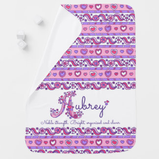 Aubrey name with name meaning hearts baby blanket