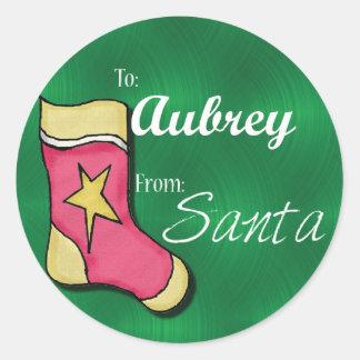 Aubrey Personalized Stocking Label Round Stickers