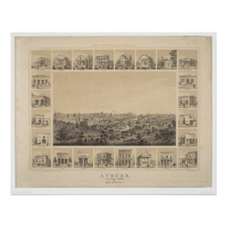 Auburn, California 1857 Panoramic Map (2508A) Poster