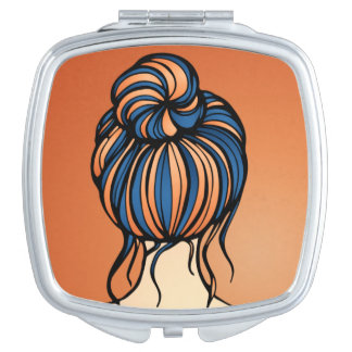 Auburn Girl Blue and Orange Hair Compact Mirror