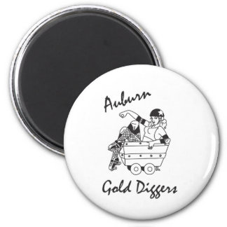 Auburn Gold Diggers Black and White Logo 6 Cm Round Magnet