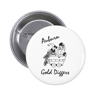 Auburn Gold Diggers Black and White Logo Pinback Buttons