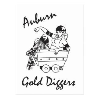 Auburn Gold Diggers Black and White Logo Postcard