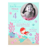 Auburn Mermaid Fourth Birthday Custom Announcements