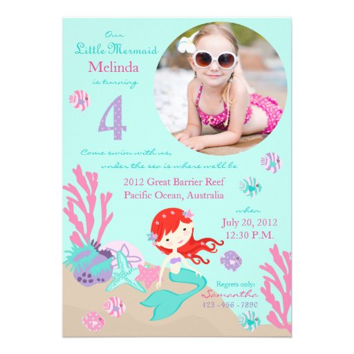 Auburn Mermaid Fourth Birthday Invitation