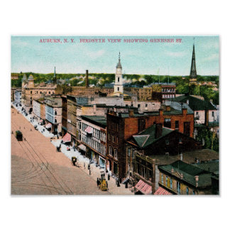 Auburn, New York, Bird's Eye View, Vintage Poster