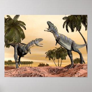 Aucasaurus dinosaurs fight - 3D render Poster