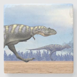 Aucasaurus dinosaurs running - 3D render Stone Coaster
