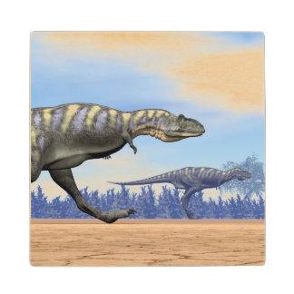 Aucasaurus dinosaurs running - 3D render Wood Coaster