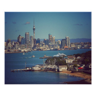 Auckland City CBD Across the Waitemata Harbour Poster