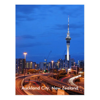 Auckland City, New Zealand At Dusk Postcard