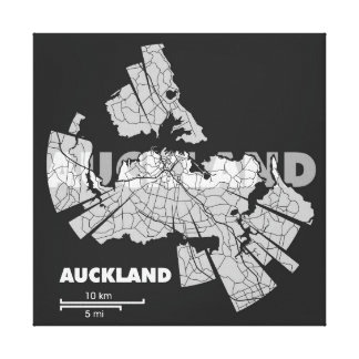 Auckland Map Wrapped Canvas Stretched Canvas Print