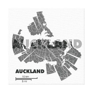 Auckland Map Wrapped Canvas Stretched Canvas Prints