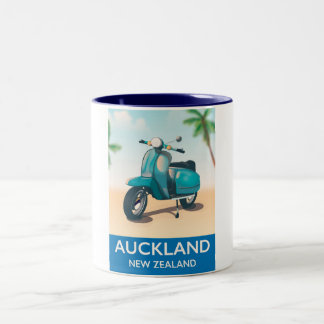 Auckland new zealand travel poster Two-Tone coffee mug